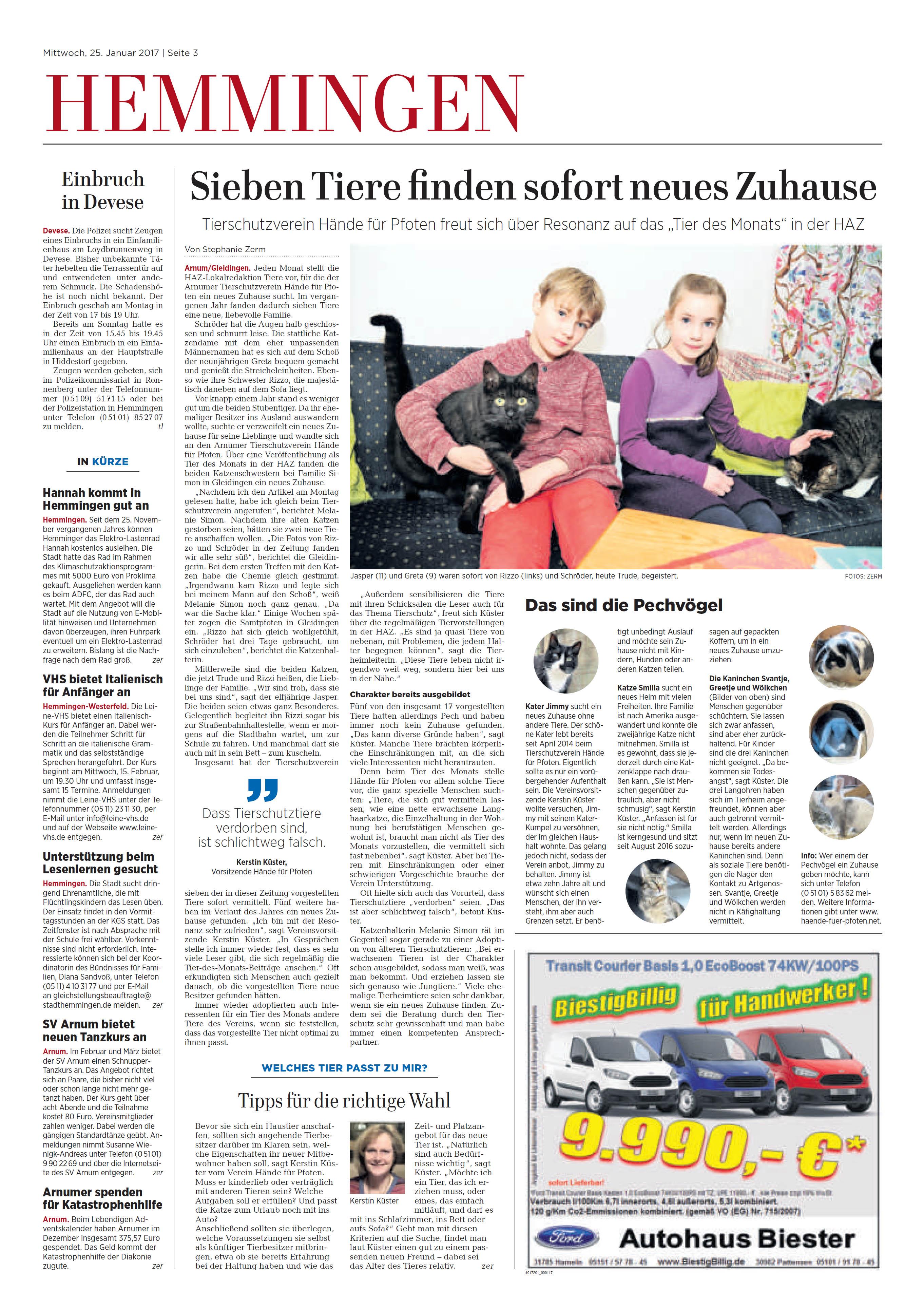 Zeitungsbericht vom 25. Januar 2017 - Hände für Pfoten e.V.